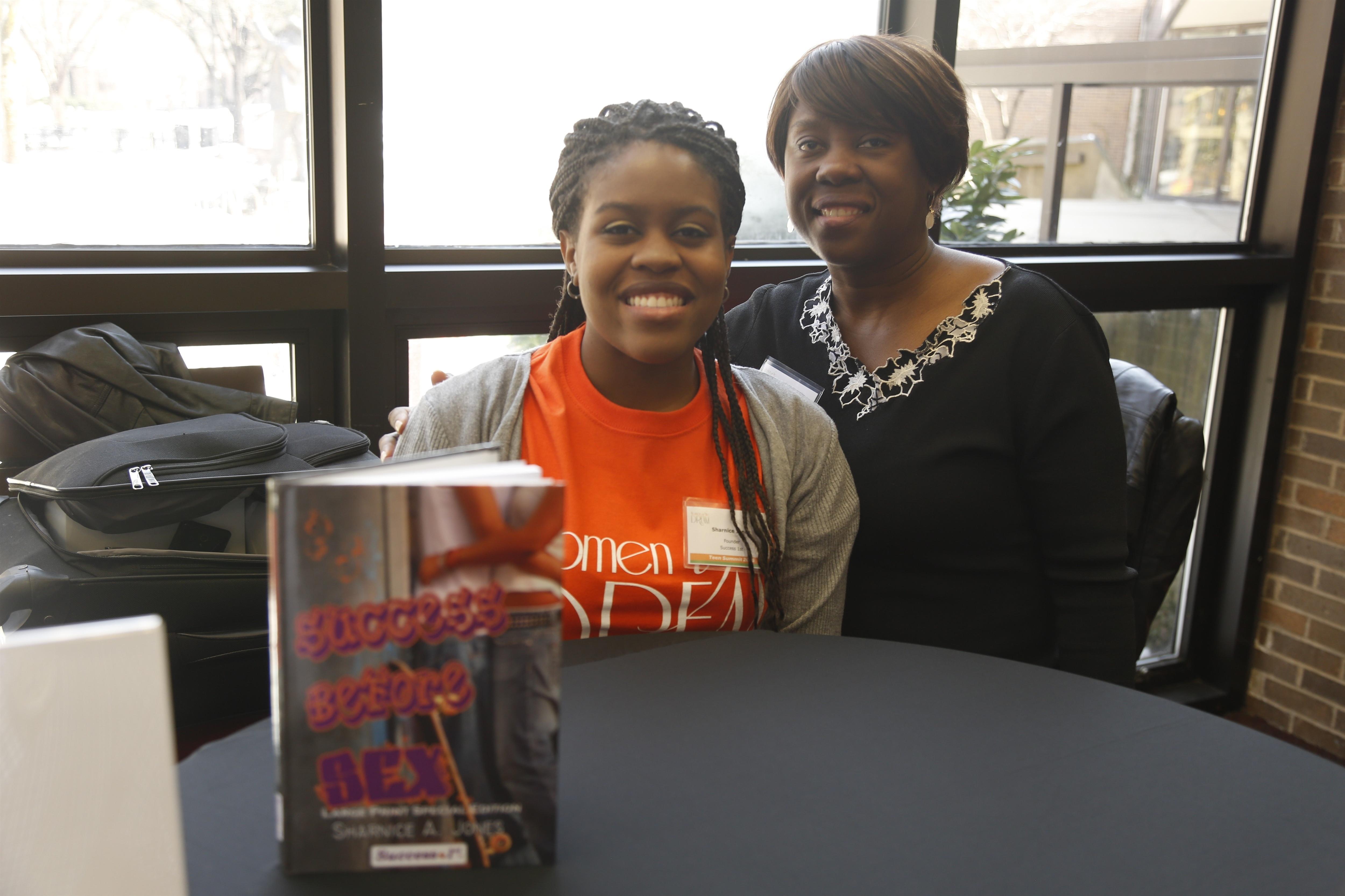 sarnice and mom at book signing