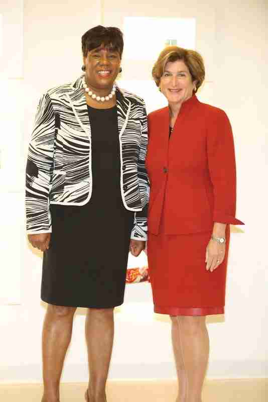 Leslie Morris and Denise Morrison at the WOD launch event held at Campbell Soup headquarters in Camden.